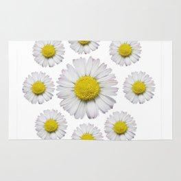 ALL WHITE SHASTA DAISY FLOWERS ART Rug