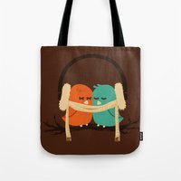 winter Tote Bags featuring Baby It's Cold Outside by Picomodi