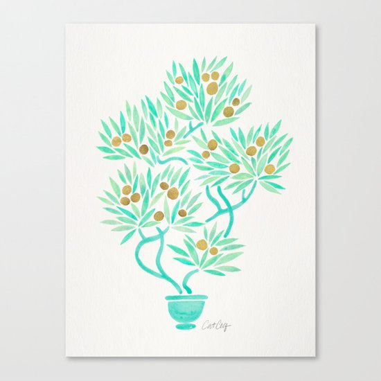 Bonsai Tree – Mint & Gold Canvas Print
