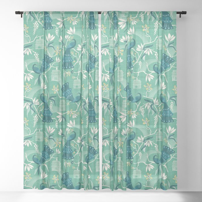 Aviary - Green Sheer Curtain