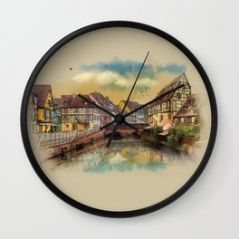 panorama city of Colmar France Wall Clock