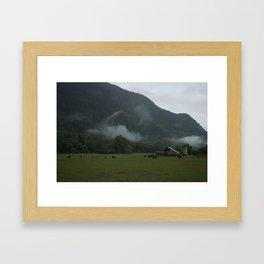 Foggy Barnyard Framed Art Print