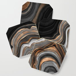 Elegant black marble with gold and copper veins Coaster