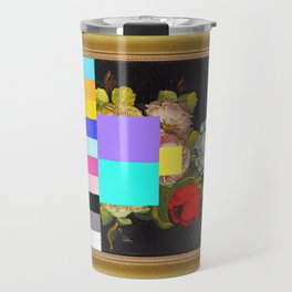 A Painting of Flowers With Color Bars Travel Mug