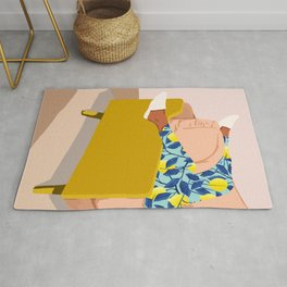Casual Sunday, Modern Bohemian Eclectic Lemon, Tropical Black Woman Fashion Blush Décor Illustration Rug