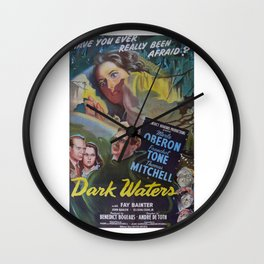 Dark Waters, vintage horror movie poster Wall Clock