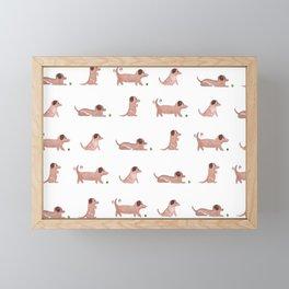 Dachshund Wiener Dog wallpaper Framed Mini Art Print