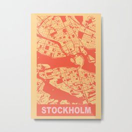 Stockholm, Sweden, city map, Golden Yellow Metal Print