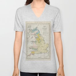 Vintage Map of the Coal Fields of Great Britain Unisex V-Neck