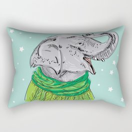 Merry Christmas New Year's card design Elephant head with a raised trunk in a knitted sweater Rectangular Pillow