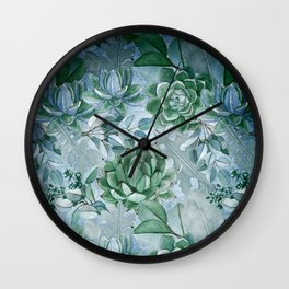 Painterly blue teal cactus pattern Wall Clock