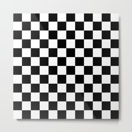 Checkered (Black & White Pattern) Metal Print