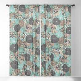 Black Brown and Teal Watercolor Floral Sheer Curtain