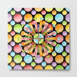 Candy Rainbow Mandala Metal Print