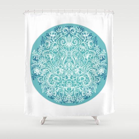 Spring Arrangement - teal & white floral doodle Shower Curtain