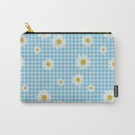 Daisies On Blue Gingham Carry-All Pouch
