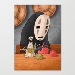 Spirited Away - Boh and No Face Knitting Canvas Print