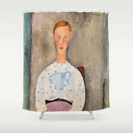 """Amedeo Modigliani """"Girl with a Polka-Dot Blouse (Jeune fille au corsage à pois)"""" Shower Curtain"""