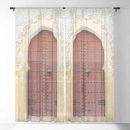 Golden Red Door in Fes, Morocco Sheer Curtain