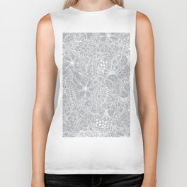 Modern trendy white floral lace hand drawn pattern on harbor mist grey Biker Tank