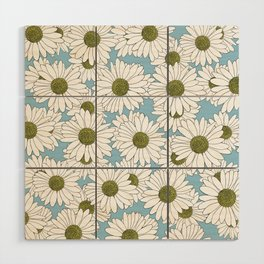 Daisy Blue Wood Wall Art