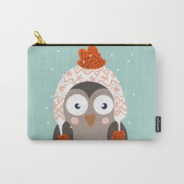 Owl Under Snow in the Christmas Time. Carry-All Pouch