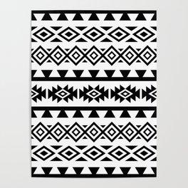 Aztec Stylized Lg Pattern II BW Poster
