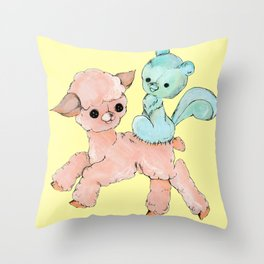 sew kewt pastel goth creepy stitched creatures Throw Pillow