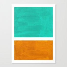 Marine Green Yellow Ochre Mid Century Modern Abstract Minimalist Rothko Color Field Squares Canvas Print