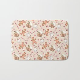Gingerbread & Peppermint Repeat Pattern -Holiday Pattern Bath Mat