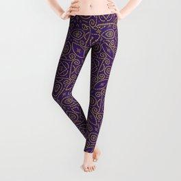Purple and Gold Bandhani Bandhej Indian Sari Print Leggings