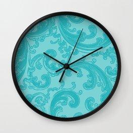 Retro Chic Swirl Teal Wall Clock