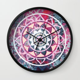 Mixed Media Mandala - Dark Wall Clock