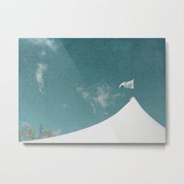 White Circus Tent and Teal Blue Sky Metal Print