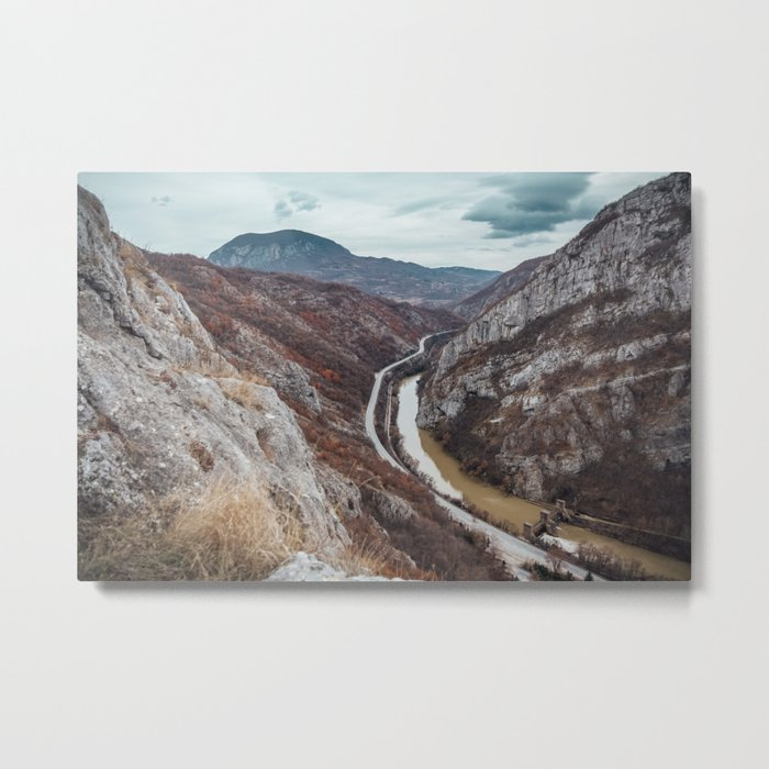 Beautiful photo of the canyon in Serbia, with river and the highway in the middle Metal Print