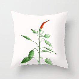 Little Hot Chili Pepper Plant Throw Pillow