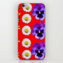 PURPLE PANSIES, WHITE DAISIES, MONARCH BUTTERFLIES RED ART iPhone Skin