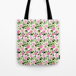 Pink and Green Garden Floral Pattern Tote Bag