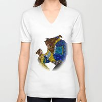 beauty and the beast V-neck T-shirts featuring Beauty and the Beast by JackEmmett