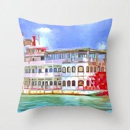 New Orleans Paddle Steamer Pop Art Throw Pillow