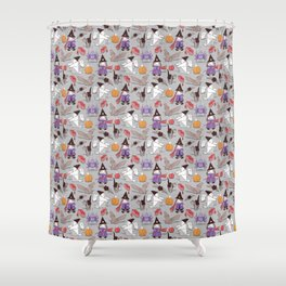 Halloween origami tricks // grey linen texture background Shower Curtain