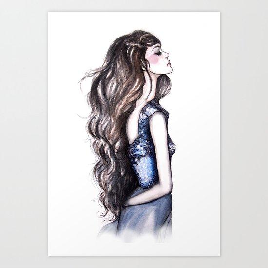 Long Locks // Fashion Illustration Art Print