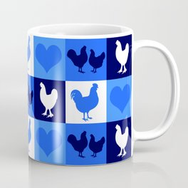 Blue and White American Chickens Gingham Coffee Mug