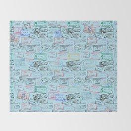 Worldly Traveler - Passport Pattern - Light Blue Throw Blanket