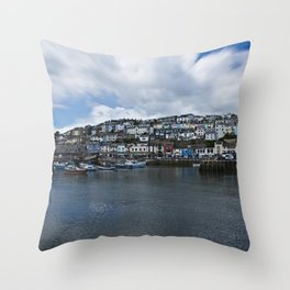 Brixham The Colourful Harbour Throw Pillow
