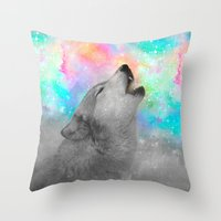 hobbes Throw Pillows featuring Breathing Dreams Like Air (Wolf Howl Abstract II: Gray) by soaring anchor designs