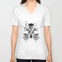 watchmen V-neck T-shirts featuring Rorschach by Robert Farkas