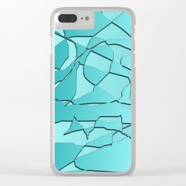 Shattered Teal Clear iPhone Case