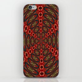 Red, Green And Gold Kaleidoscopic Abstract iPhone Skin