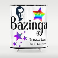 humor Shower Curtains featuring Sheldon Humor by GrOoVy Photo Art